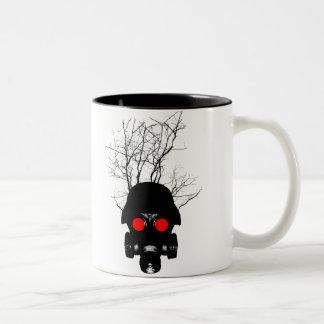 Red Eyed Gas Mask Two-Tone Coffee Mug