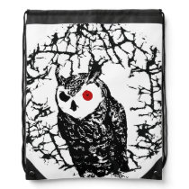 Red Eyed Owl Drawstring Bag