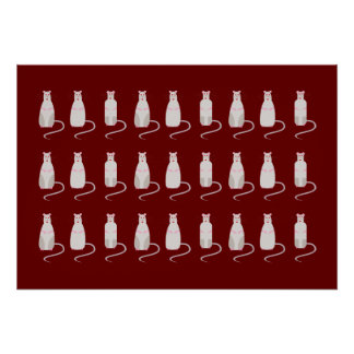 Red-Eyed Rats Pattern Horizontal Poster