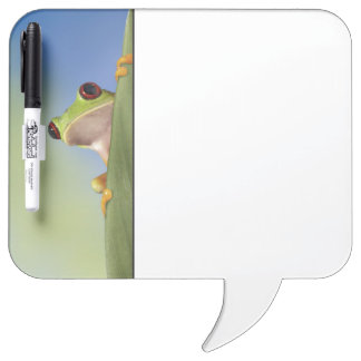 Red Eyed Tre Frog Peeking From Behind a Leaf Dry Erase Board