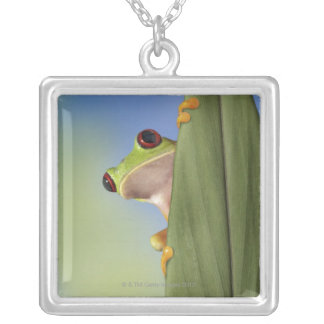 Red Eyed Tre Frog Peeking From Behind a Leaf Silver Plated Necklace