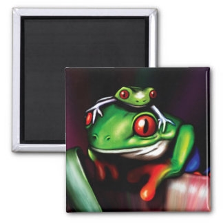 Red Eyed Tree Frog 2 Inch Square Magnet