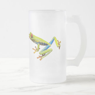Red eyed tree frog frosted glass beer mug