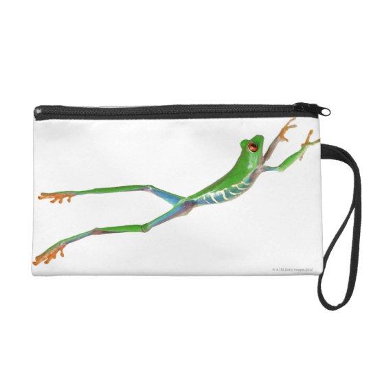 Red eyed tree frog jumping wristlet purse