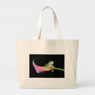 red eyed tree frog on calla flower tote bag