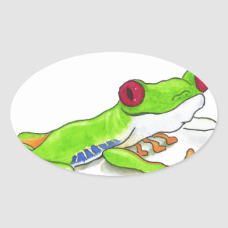 Red Eyed Tree Frog Oval Sticker