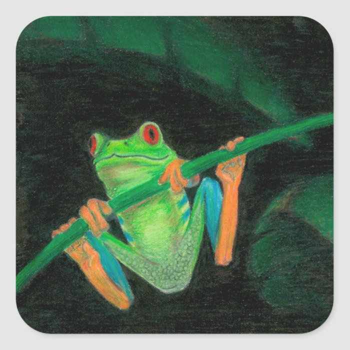 Red-Eyed Tree Frog Square Sticker