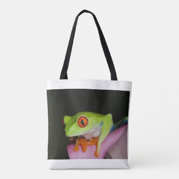 Beach Themed Red-eyed Tree Frog Tote Bag