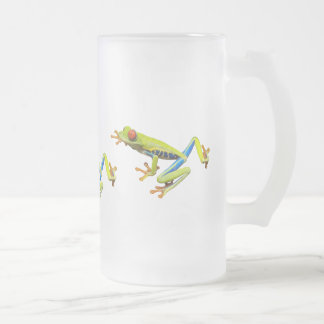 Red eyed tree frogs frosted glass beer mug