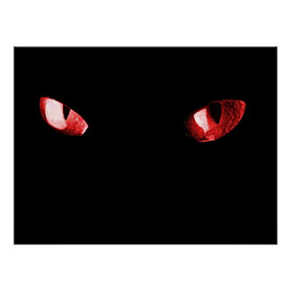 Red Eyes Cat Poster
