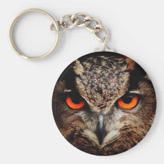 Red Eyes Eagle Owl Basic Round Button Keychain