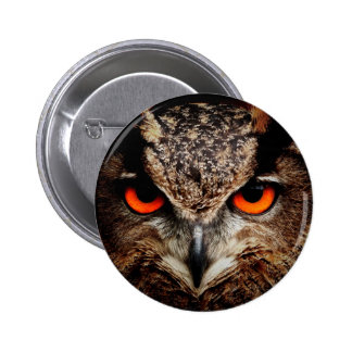 Red Eyes Eagle Owl Button