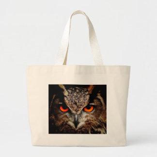 Red Eyes Eagle Owl Large Tote Bag