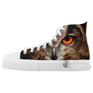 Red Eyes Eagle Owl Printed Shoes