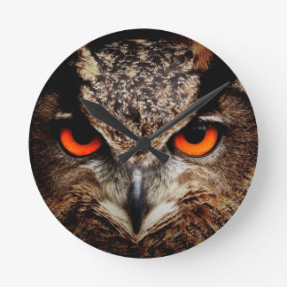 Red Eyes Eagle Owl Round Clock