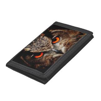 Red Eyes Eagle Owl Tri-fold Wallet