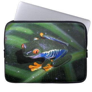 Red Eyes Frog On Leaf Computer Sleeves