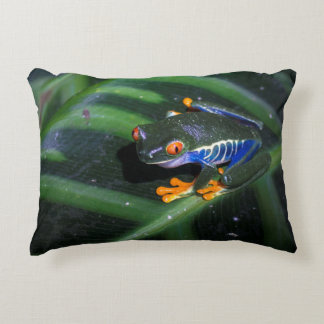 Red Eyes Frog On Leaf Decorative Pillow