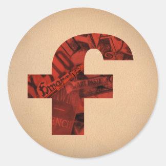 red f classic round sticker