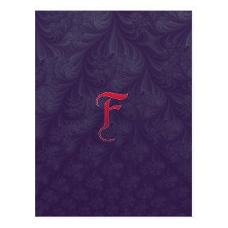Red 'F' on purple embossed effect 3D fractal. Postcard