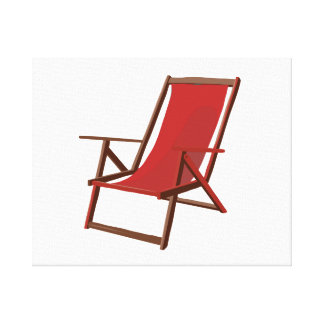 red fabric beach chair.png canvas print