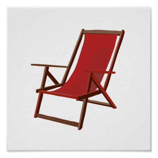 red fabric beach chair.png poster