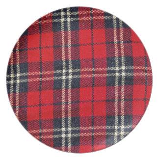 red Fabric Checks modern design trend latest style Dinner Plate