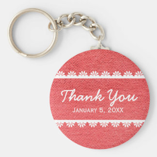 Red Fabric Texture with White Lace Keychain