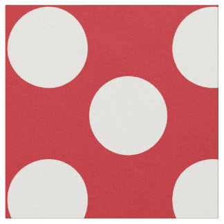 Red Fabric with Large White Polka Dots