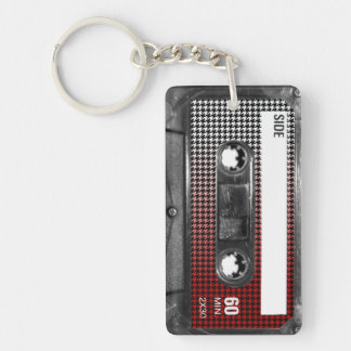 Red Fade Houndstooth Label Cassette Keychain