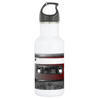 Red Fade Houndstooth Label Cassette 18oz Water Bottle