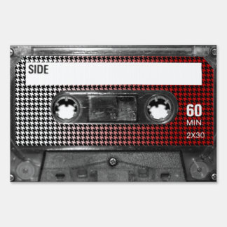 Red Fade Houndstooth Label Cassette Sign