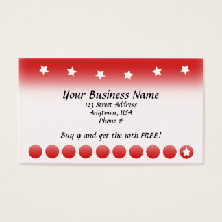 Red Fade with Stars Customer Loyalty Cards