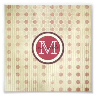 Red Faded Dots Monogram Photographic Print
