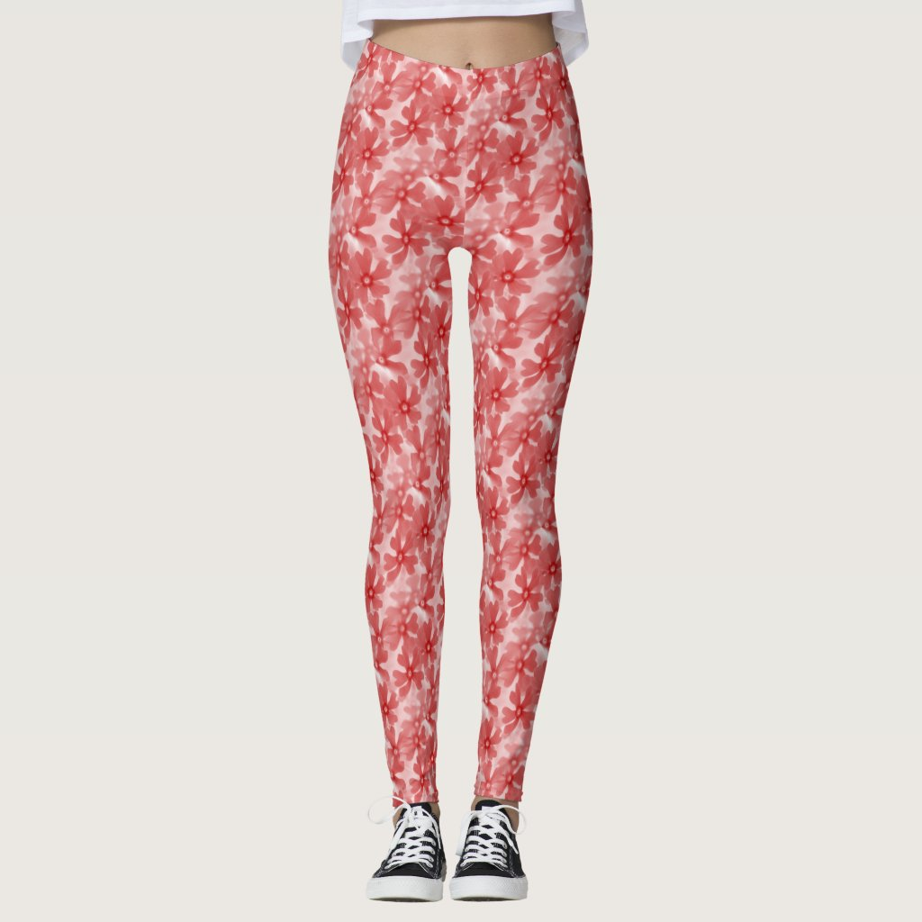 Red Faded Flowers Leggings