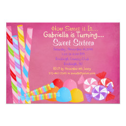 Red Faded Lots of Candy Sweet 16 Invitation