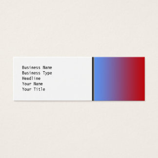 Red fading to Blue Colors, simple design. Mini Business Card