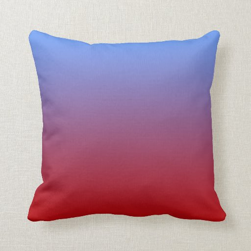 Red fading to Blue Colors, simple design. Pillow