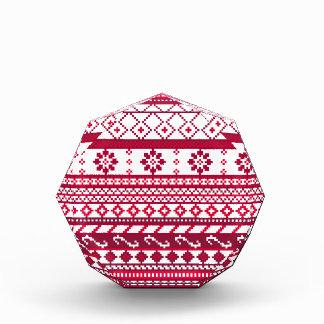 Red Fair Isle Christmas Pattern Acrylic Award
