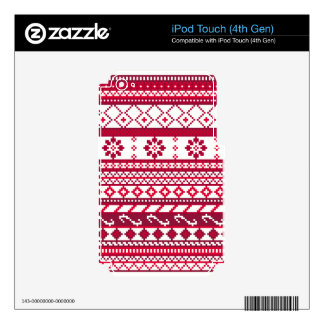 Red Fair Isle Christmas Pattern Skins For iPod Touch 4G