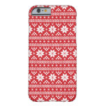 Red Fair Isle Christmas Sweater Pattern Barely There iPhone 6 Case