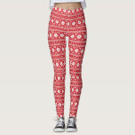 "Red Fair Isle Leggings<br><div class=""desc"">Allover print leggings in a fun holiday fair isle print. Perfect for your next ugly Christmas sweater party or just for spreading cheer all winter long!</div>"