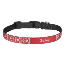 Red Fair Isle Monogram Pet Collar