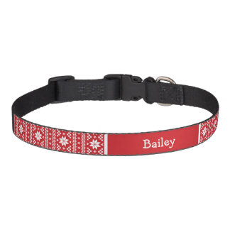 Red Fair Isle Monogram Pet Collar