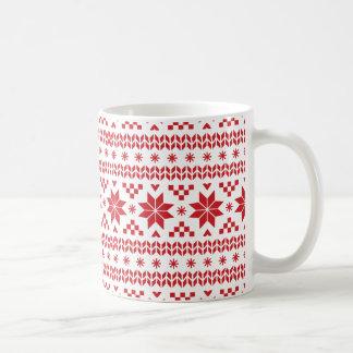 Red Fair Isle Pattern Coffee Mug