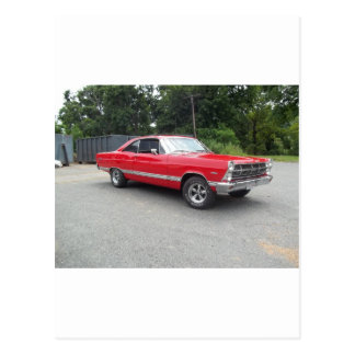 Red fairlane 289 sweet ride with racing wheels postcard
