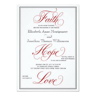 Red Faith Hope Love Calligraphy Wedding Invitation
