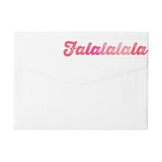 Red Falalalala Simple Custom Holiday Address Label Wraparound Return Address Label