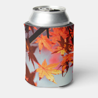 Red Fall Autumn Leaves Maple Tree Can Cooler