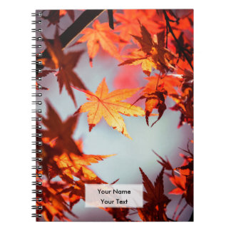 Red Fall Autumn Leaves Maple Tree Notebook